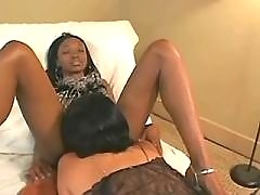 Hot latin lesbian licks black chick
