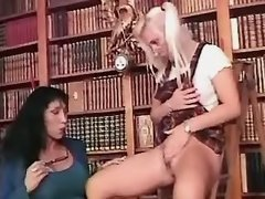 Lustful librarian spoils blond babe