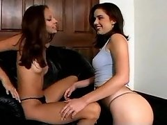 Two pretty girls have fun in lesbo sex adventure