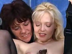 Two mature lesbians spoil innocent blonde chick