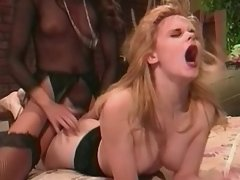 Two wild horny lesbians share dildo